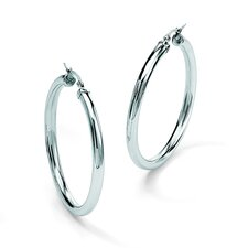 StainleSterling Silver Steel Hoop Pierced Earrings