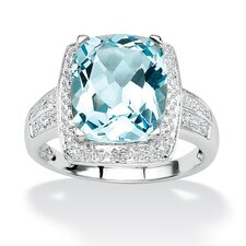 Blue Topaz and Diamond Accent Ring