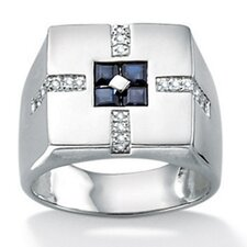 <strong>Palm Beach Jewelry</strong> Platinum Plated Men's Sapphire and Diamond Ring
