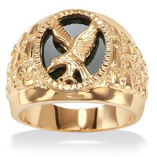 <strong>Palm Beach Jewelry</strong> Men's Oval Cut Onyx Eagle Ring