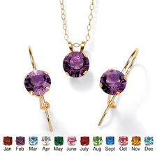 10k Yellow Gold Rond Cut Birthstone Jewelry Set