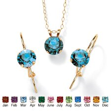 <strong>Palm Beach Jewelry</strong> 10k Yellow Gold Rond Cut Birthstone Jewelry Set