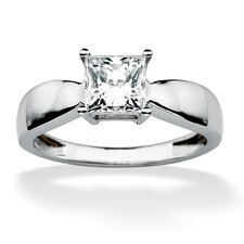 <strong>Palm Beach Jewelry</strong> 10k White Gold Princess Cut Cubic Zirconia Bridal Ring