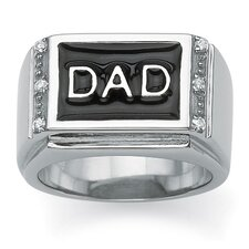 Men's Round Cut Crystal DAD Ring