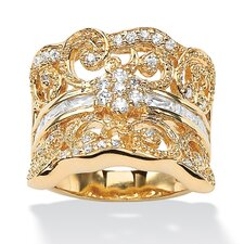 14k Yellow Gold Round Cut Cubic Zirconia Statement Ring