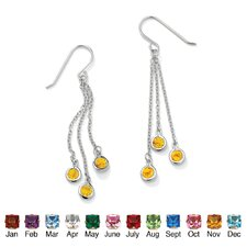 Round Cut Birthstone Drop Earrings