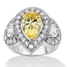 <strong>Palm Beach Jewelry</strong> Platinum Pear Cut Canary Cubic Zirconia Statement Ring