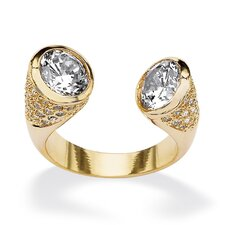 14k Yellow Gold Round Cut Cubic Zirconia Open Ring