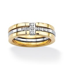 Gold Round Cut Cubic Zirconia Horizontal Cross Stacking Ring