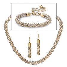 14k Yellow Gold Round Crystal Jewelry Set