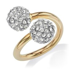 14k Yellow Gold Round Cut Crystal Statement Ring