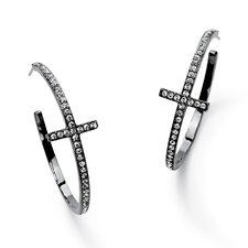 Cross Round Cut Crystal Hoop Earrings