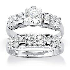 Emerald Cut Cubic Zirconia Bridal Ring Set