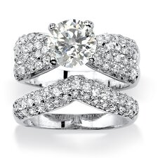 <strong>Palm Beach Jewelry</strong> Princess Cut Cubic Zirconia Bridal Ring Set