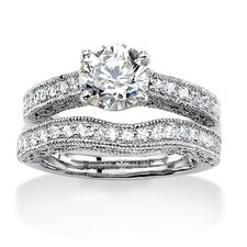 Round Cut Cubic Zirconia Bridal Ring Set