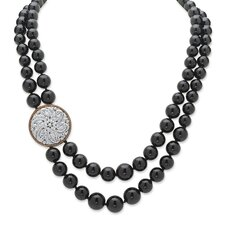 Silvertone Round Cut Onyx Strand Necklace