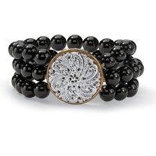 Round Cut Onyx Strand Bracelet