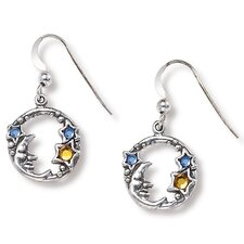 Moon Round Cut Crystal Drop Earrings