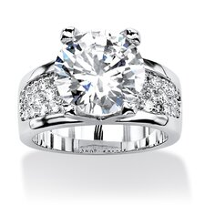 Platinum-Plated Round Cut Cubic Zirconia Ring