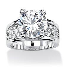 Platinum-Plated Round Cut Cubic Zirconia Ring