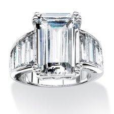 Silvertone Emerald Cut Cubic Zirconia Ring