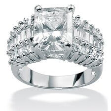 Platinum Over Silver Emerald Cut Cubic Zirconia Fashion Ring