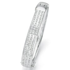 <strong>Palm Beach Jewelry</strong> Cubic Zirconia Silvertone Bangle Bracelet