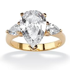 18k Gold-Plated Pear Cut Cubic Zirconia Ring