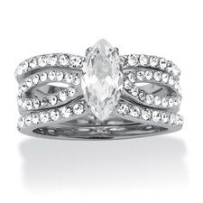 Silvertone Cubic Zirconia Bridal Ring 3 Piece Set