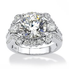 <strong>Palm Beach Jewelry</strong> Platinum Over Silver Round Cut Cubic Zirconia Ring