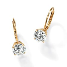 Round Cut Cubic Zirconia Lever-Back Drop Earrings