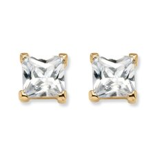Princess-Cut Cubic Zirconia Stud Earrings