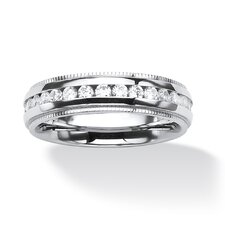 Men's Stainless Steel Round Cut Eternity Band Ring