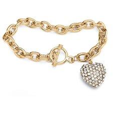 Crystal Heart Birthstone Link Bracelet