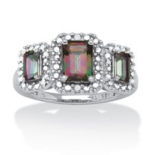 Platinum Over Silver Emerald Cut Gemstone Ring