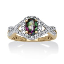 <strong>Palm Beach Jewelry</strong> 18k Gold Over Silver Oval Cut Gemstone Ring