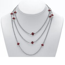 <strong>Palm Beach Jewelry</strong> Silvertone Birthstone Station Necklace