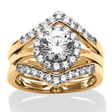 14k Gold Over Silver Round Cut Cubic Zirconia Ring Set
