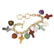 Jade Heart and Cross Charm Bracelet