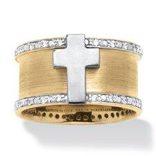 Men's 18k Gold Over Silver Cubic Zirconia Cross Ring