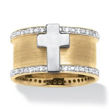 Men's 18k Gold Over Silver Cubic Zirconia Cross Ring