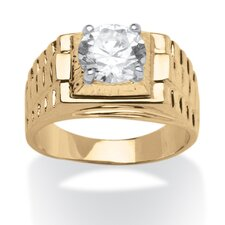 Men's 14k Gold-Plated Cubic Zirconia Ring