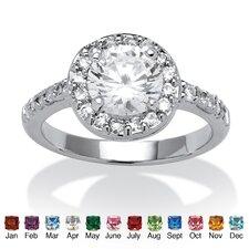 Sterling Silver Round Cut Cubic Zirconia Crystal Birthstone Ring