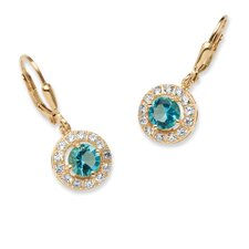 Birthstone Halo Drop Earrings