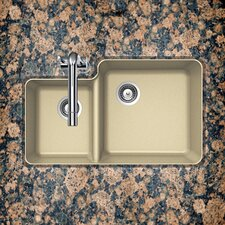 "Cristalite 33"" x 20.75"" Solido Series Undermount 70/30 Double Bowl Kitchen Sink"