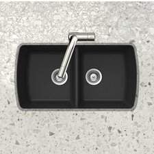 "<strong>Schock Houzer</strong> Cristalite 33"" x 18.94"" Solido Series Undermount 50/50 Double Bowl Kitchen Sink"