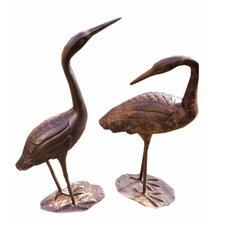 Birds of a Feather 2 Piece Crane Statue Set