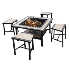 Serengeti Sunrise 5 Piece Dining Set with Fire Pit