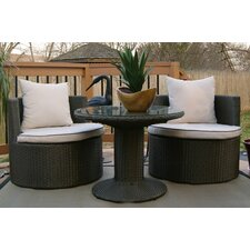 Geo Vino 3 Piece Seating Group in Dark Grey with Cushions