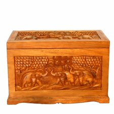 Handmade Thai Elephant Design Trunk Coffee Table